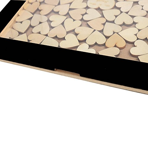 Tamengi Wedding Guest Book Frame,Custom Drop Top Guestbook,Wedding Decoration,Personalized Guest Book for Signature,Wood Heart Guestbook with 150Pcs Wooden Hearts by Tamengi (Image #3)