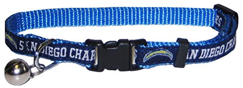 NFL CAT COLLAR. - SAN DIEGO CHARGERS CAT COLLAR. - Strong & Adjustable FOOTBALL Cat Collars with Metal Jingle Bell (Dog Collar San Diego Chargers)