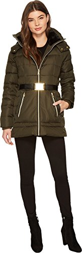 Vince Camuto Womens Belted Down with Faux Fur N8031 Olive LG (US 12-14) One Size