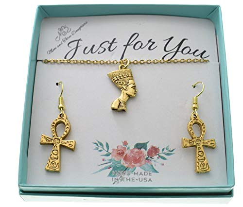 Nefertiti and Ankh Necklace and Earrings Set in Gold Plated Pewter on an 18