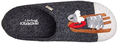 Pantoffel anthra Kitzbühel Noir Rodel Hund 600 Chaussons APPL Schwarz amp; Femme Living T5x4g6wg