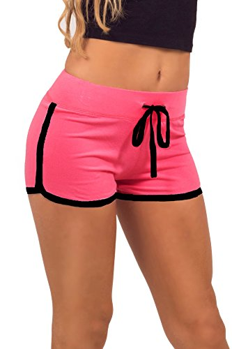 Women's Elastic Waist Contrast Outline Active Lounge Shorts