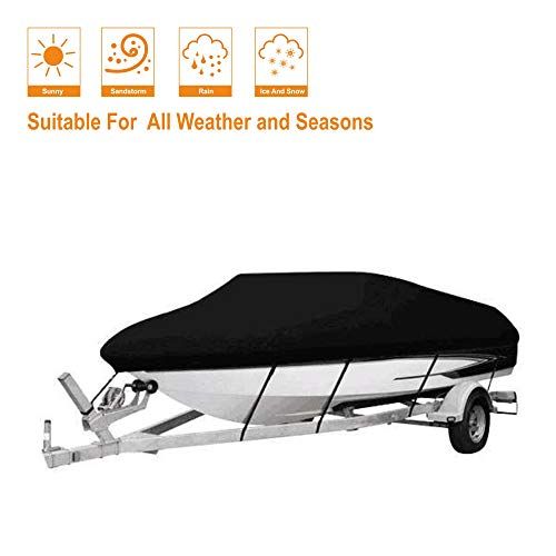 AOPEC 210D Oxford Fabric Waterproof Boat Cover for V-Hull Runabouts and Bass Boats 14-16 Ft.
