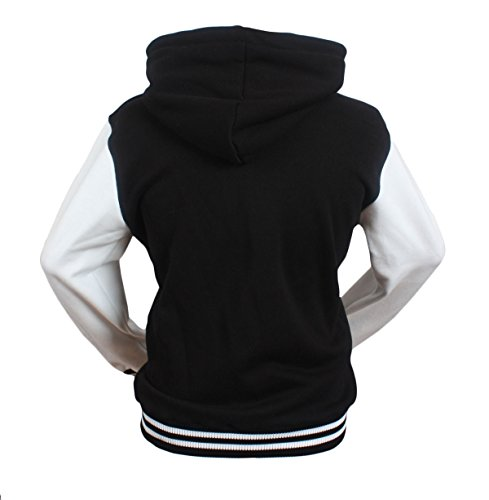 Stylistark Women's Letter A Varsity Letterman Baseball Hoodies Cotton Jacket L Black-White (Letterman Jackets With Hood compare prices)