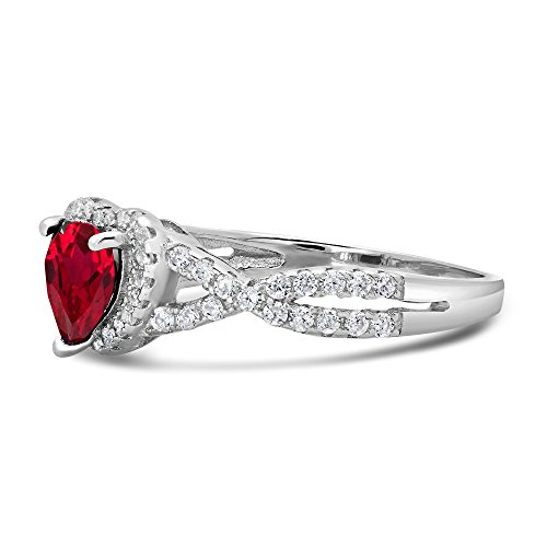 Sterling Silver Heart Shape CZ Promise Ring - Created Ruby (10)