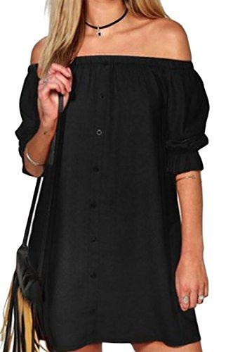Les Femmes Domple Mini-partie Boutonné Devant Passer Au Large Robe D'été Noire Épaule