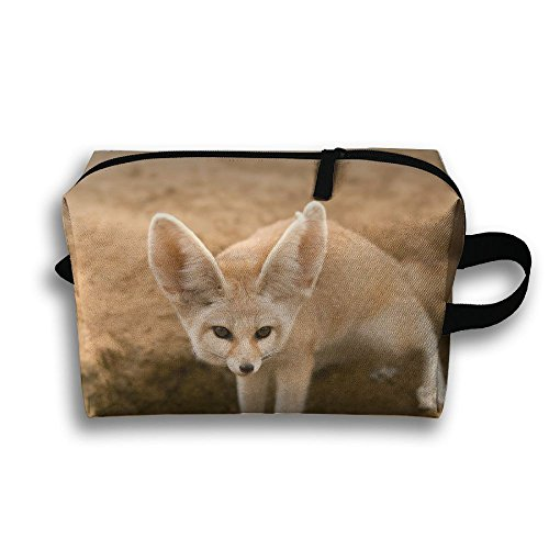 Create Magic   Fennec Fox Small Carrying Storage Pouch Case Bags Waterproof Multi Purpose Storage Tote Tools Canvas Bag Cosmetic Makeup Bags With Zipper And Hanging Loop