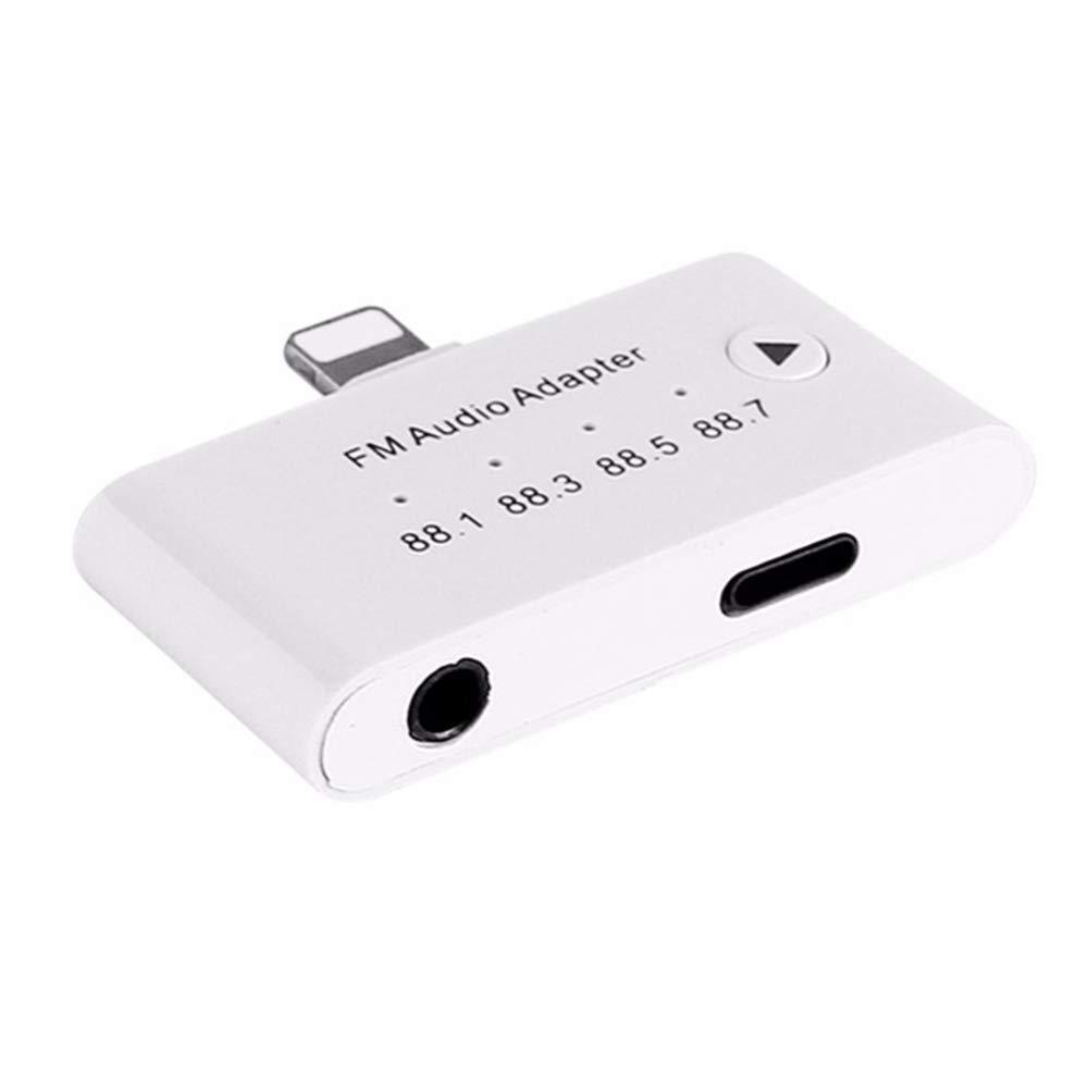 Cikuso 3 en 1 para La Interfaz Apple a 3.5 Mm Hembra Kit de Transmisor de Audio Auxiliar FM Adaptador para iPhone 5 6 6S 7 7Plus 8 8S para iPad Series