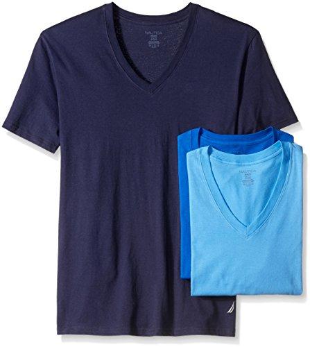 Nautica Men's 3-Pack Cotton V-Neck T-Shirt, Peacoat/Aero/Sea Cobalt, Small