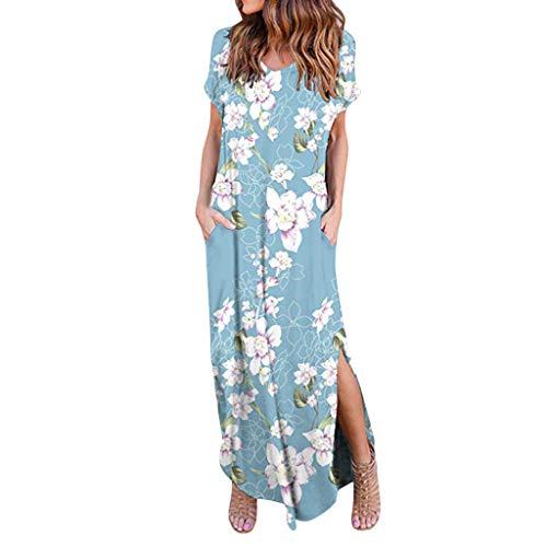Women's Casual Loose Pocket Dress, AgrinTol Women Long Dress Short Sleeve Split Maxi Dresses (S, Blue)