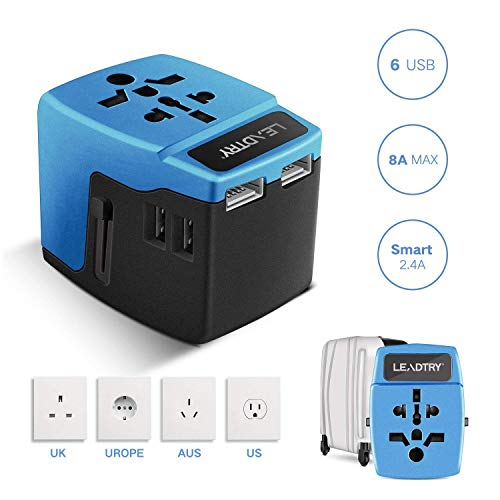 LEADTRY A6 8A Universal Travel Adapter with 2.4A 6-Port USB, All-in-one Worldwide Power Wall Charger for US EU UK AU Asia Over 190 Countries for Dual Voltage Flat Iron MacBook Cell Phone Camera Laptop