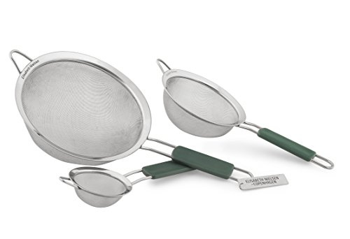 Elisabeth Nielsen Fine Mesh Strainer Set of 3, Use Strainers as a Sieve, Pasta Strainer, a Colander with Handle for Amaranth, as Quinoa Strainer, PLUS a Free Bonus Set of Premium Mesh Tea Strainers