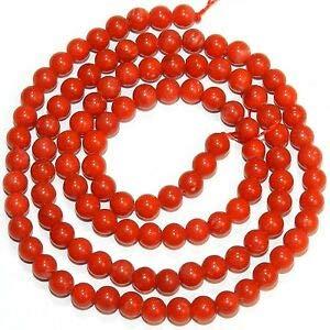 CRL184 Light-Medium Red 4.5mm - 5mm Round Bamboo Coral Gemstone Beads 16
