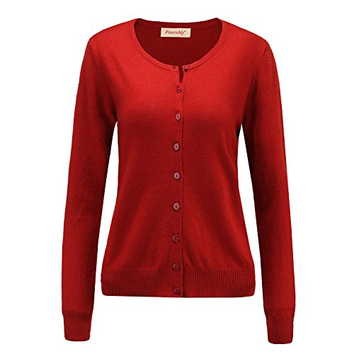 - Panreddy Women's Wool Cashmere Classic Cardigan Sweater S Dark Red