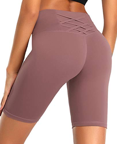 YASEN ART Women's Compression Workout Shorts with Side Pockets Tummy Control High Waist Yoga Shorts Athletic Running Shorts Red