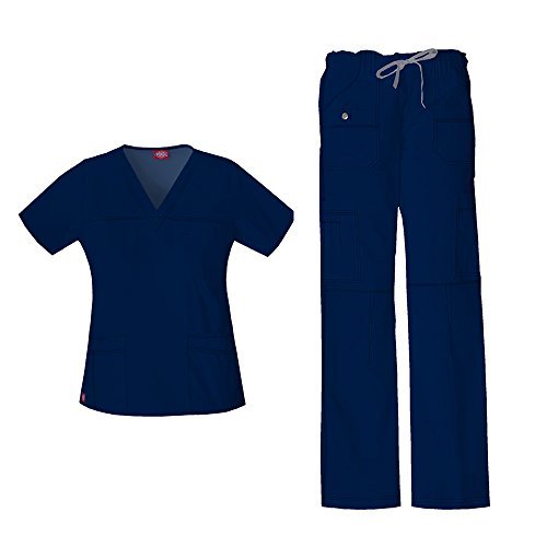 Dickies Gen Flex Women's Junior Fit 'Youtility' Top 817455 GenFlex Women's Low Rise Drawstring Cargo Pant 857455 Scrub Set (Navy - Medium/Medium Petite)