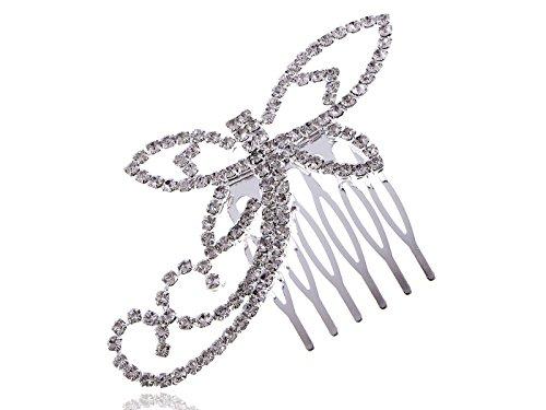 Alilang Bridal Jewelry Crystal Rhinestone Dragonfly Fashion Head Piece Hair Comb