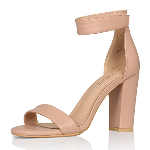 Yeviavy High Heel Sandals Women's Block Heels Open Toe Velcro Ankle Strap Dress Shoes Jordi Beige PU 8.5