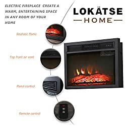 LOKATSE HOME Electric Fireplace Insert Heater Log with Realistic Flame Remote Control, Over-Heating Protection, Three-Speed Adjustment 700/1000/1400W, Black by LOKATSE HOME