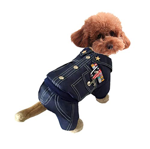 OSPet Dog Hoodie Puppy Coat Pet Warm Jacket General Outfit for Small Dog Blue -