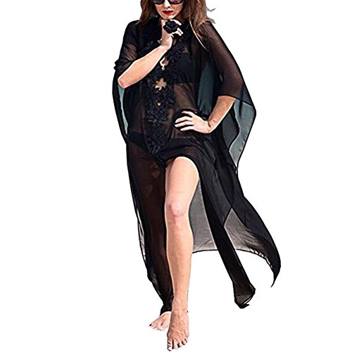 Fafcitvz Summer Womens Beach Wear Chiffon Kimono Bikini Cover up Floral Long Maxi Beach Dress