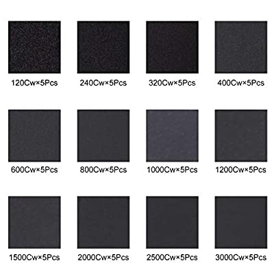 60 Sheets Assorted Grit Sandpaper 9x 3.6 Inch Dry or Wet Sanding for Furniture Finishing, Metal Sanding and Automotive Polishing