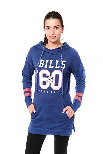 ICER Brands Adult Women Tunic Hoodie Pullover Sweatshirt Terry, Team Color, Royal, Large