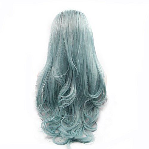 Heat Resistant Synthetic Lace Front Wigs for Drag Queen Replacement Summer Wig Dark Roots Ombre Pastel Blue Natural Hairline Middle Part Glueless Body Wave Long Hair Women's Wig 24inches ()