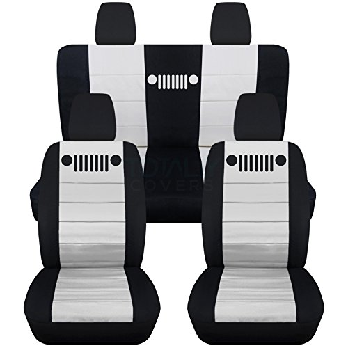 Totally Covers Fits 2011-2018 Jeep Wrangler JK Seat Covers: Black & White - Full Set: Front & Rear (23 Colors) 2012 2013 2014 2015 2016 2017 2-Door/4-Door Complete Back Solid/Split ()
