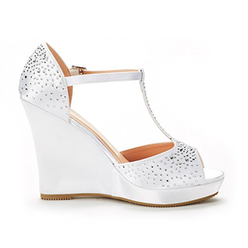 01 Satin Angeline Wedges PAIRS Sandals DREAM Women's white nWqOpROXF