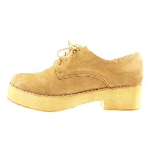 Angkorly - damen Schuhe Derby-Schuh - Plateauschuhe - Fertig Steppnähte Blockabsatz 5 CM - Camel