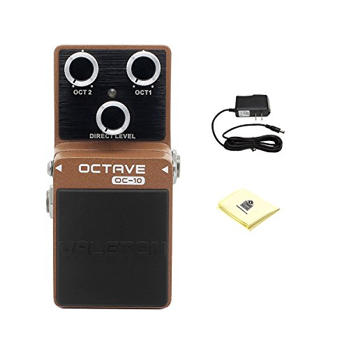 Valeton Loft OC-10 Octave Guitar Effects Pedal Sound based on Boss OC-2 Octave Pedal with Power Supply and Zorro Sounds Custom Designed Instrument Cloth by Valeton