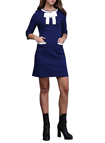 Purpura Erizo Womens Bowknot 3/4 Sleeve Dress,X-Large (Wiggle Dress Sailor)