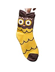 Pooqdo(TM) Women cute Animals Striped Cartoon Socks Owl Footprints Cotton Socks