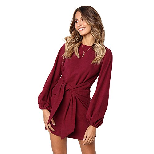 Longwu Women's Loose Casual Front Tie Long Sleeve Bandage Party Dress Wine Red-XL