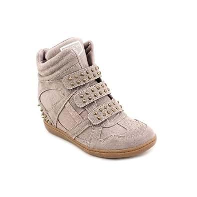 Women's Skechers, Plus 3 Staked Hidden Wedge Hi Top Sneaker DARK TAUPE 9.5 M