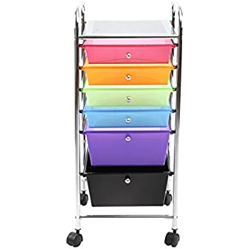 Finnhomy 6 Drawer Rolling Cart Storage Rolling Carts with Semi-transparent Mutli Color Drawers Organizer  sc 1 st  Amazon.com & Amazon.com : Finnhomy 6 Drawer Rolling Cart Storage Rolling Carts ...
