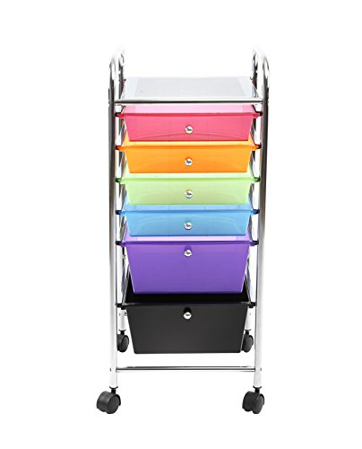 Finnhomy 6 Drawer Rolling Cart Storage Rolling Carts with Semi-Transparent Mutli Color Drawers Organizer Cart for School Office Home Beauty SalonUtility Cart with Wheels