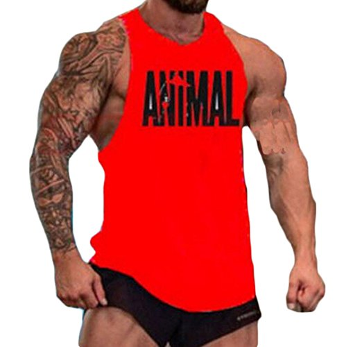 Men Animal Muscle Fitness Gym Stringer Tank Tops Bodybuilding Workout Sleeveless Shirts (L, B)