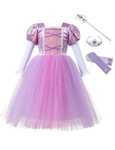 aibeiboutique Girls Princess Dresses Costume Long Sleeve Tulle Dress up for Halloween Cosplay (5-6 Years) ()