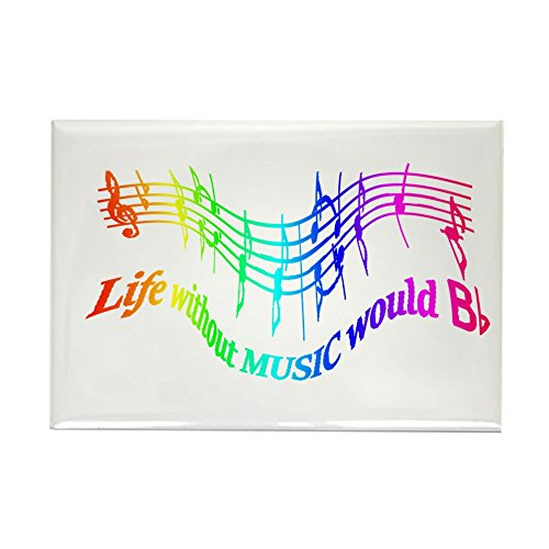 CafePress Without Music Life Would Be Flat Humor Quote Magne Rectangle Magnet, 2