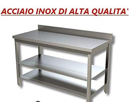 Tavolo acciaio inox con ripiani con alzatina dim cm