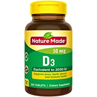 Nature Made Vitamin D 50 mcg (2000 IU) Tablets, 220 Count for Bone Health† (Packaging May Vary)