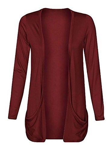 Poches boyfriend tombantes Rouge ouvert Femme Flirty Wine Cardigan Wardrobe qISRaR