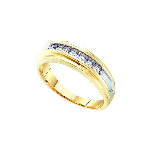 10kt Yellow Two-tone Gold Mens Round Diamond Single Row Wedding Band Ring 1/4 Cttw by JawaFashion