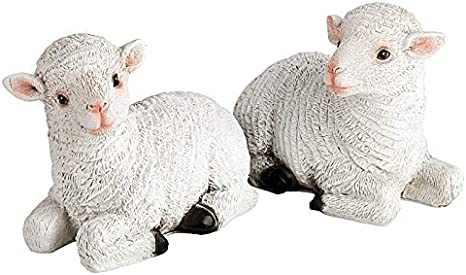 incubado 1PLUS - Figura decorativa para jardín (2 corderos, piedra artificial): Amazon.es: Hogar