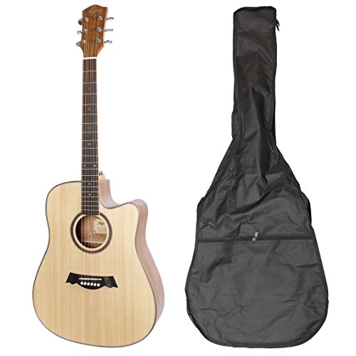 JAYMZ AG-41 series Beginner Acoustic Guitar Full Size 41'' Cutaway Guitar with Gig Bag, Solid spruce top acoustic guitar with walnut back and side full size (41'', Cutaway Sitka-Walnut) by Leo Jaymz