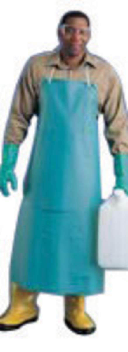 Ansell 33'' X 49'' Green CPP 18 mil Vinyl Heavy Duty Chemical Protection Apron - Pack of 5 by ANSELL (Image #1)