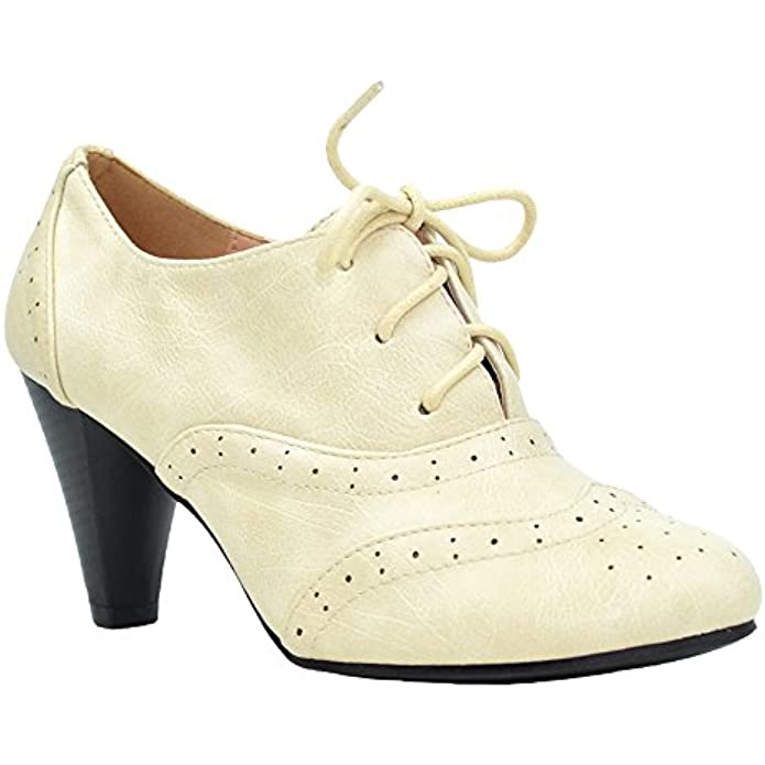ShoBeautiful Women's Oxford Shoes Classic Fashion Chunky Heel Bootie Mid-Heel Lace up Ankle Boots Mary Jane Pumps by
