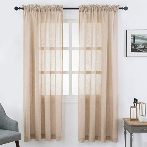 VISIONTEX Sheer Curtains Faux Linen Rod Pocket Window Curtains for Living Room 54 x 84 Inch Set of 2 Curtain Panels, Light Brown (Curtains Sheer Brown)
